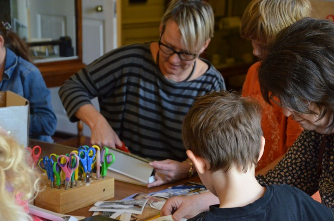 Artist Alison Stockmarr making Face Books at Hollytrees Museum